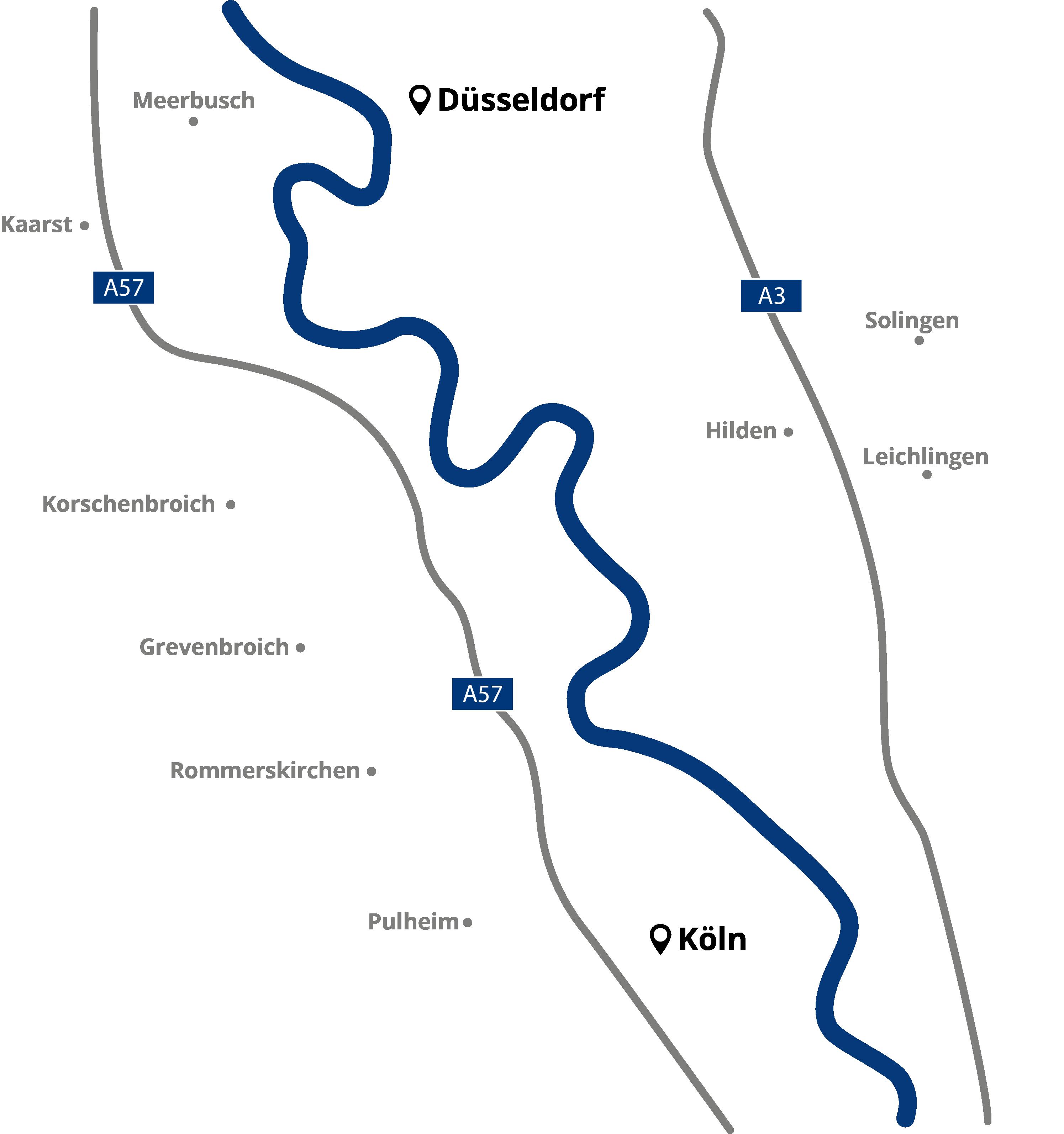 Die Karte zeigt die drei Standorte von Laufenberg Immobilien als Immobilienmakler in Dormagen, Langenfeld und Neuss.