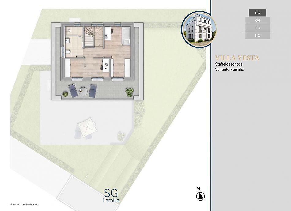 Neubauprojekt RHIVIVA Grundriss Staffelgeschoss
